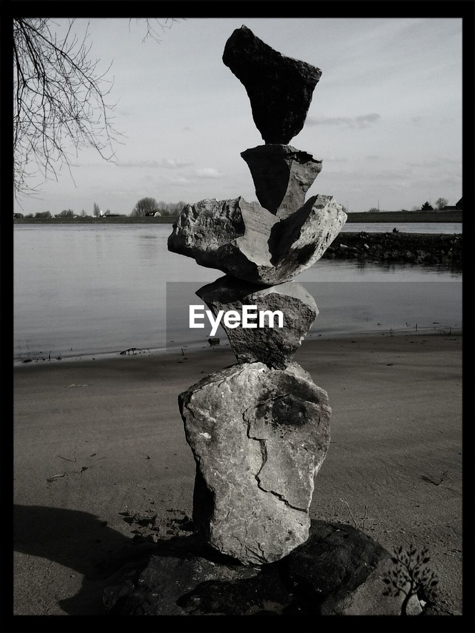 Stack of stones by river