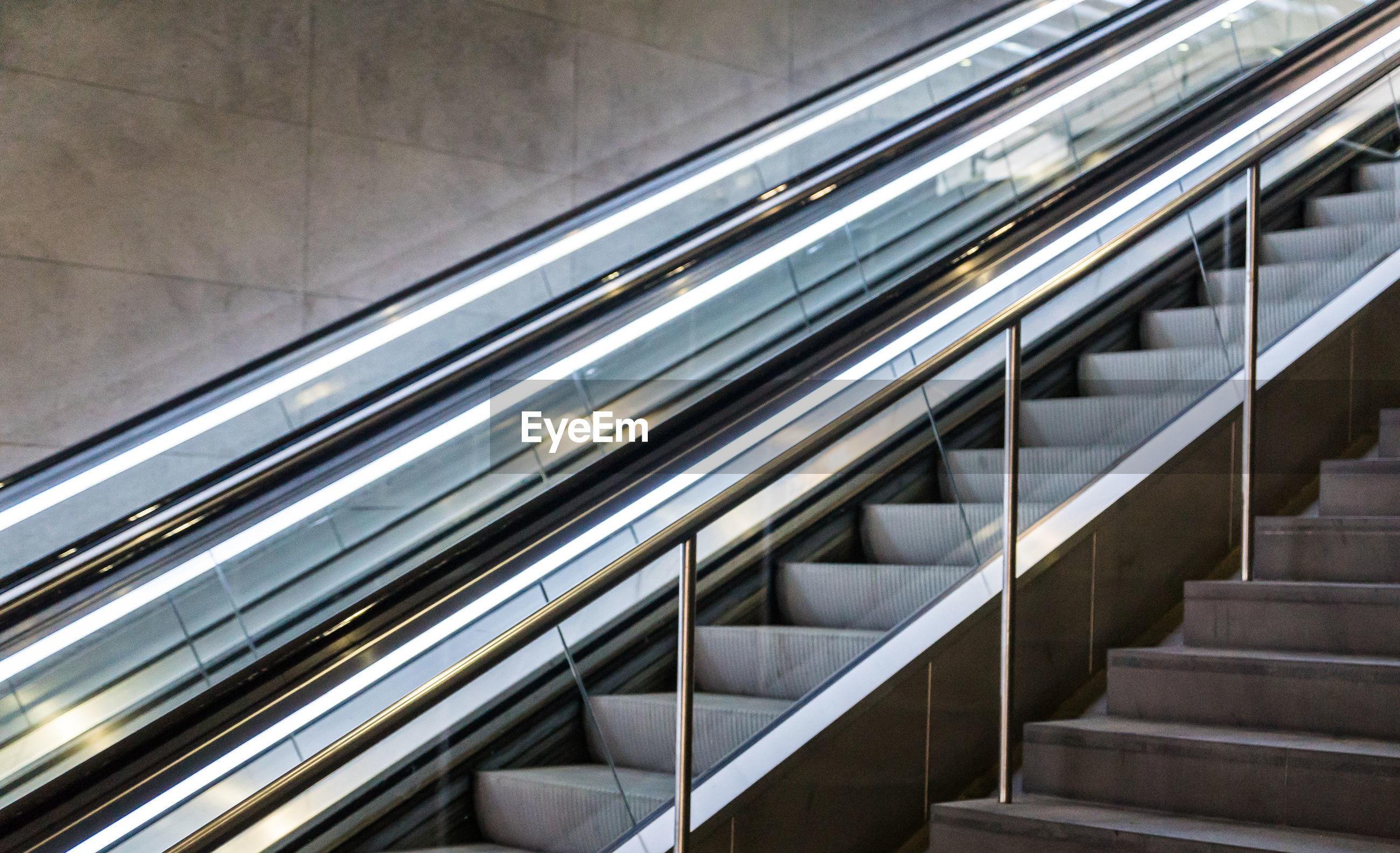 Modern escalators indoors
