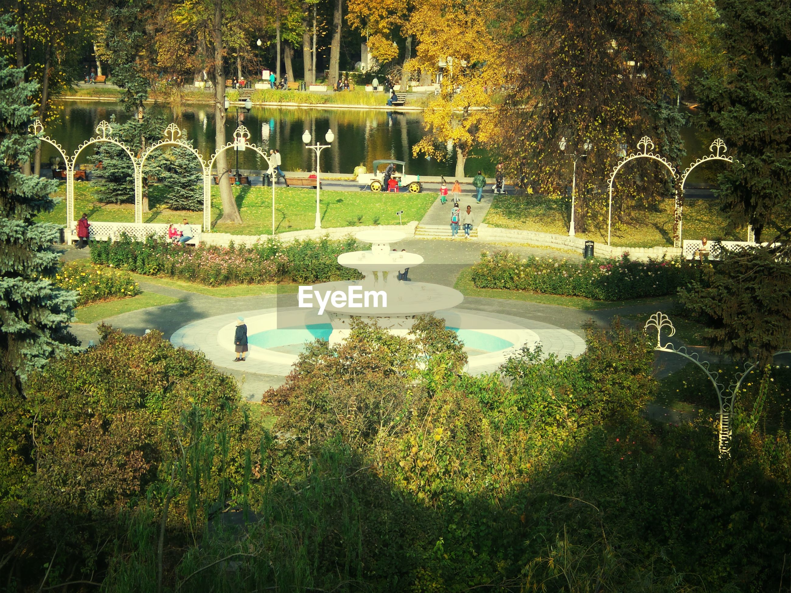 tree, park - man made space, growth, plant, park, built structure, green color, building exterior, formal garden, architecture, grass, lawn, incidental people, nature, sunlight, footpath, bench, outdoors, street light, tranquility