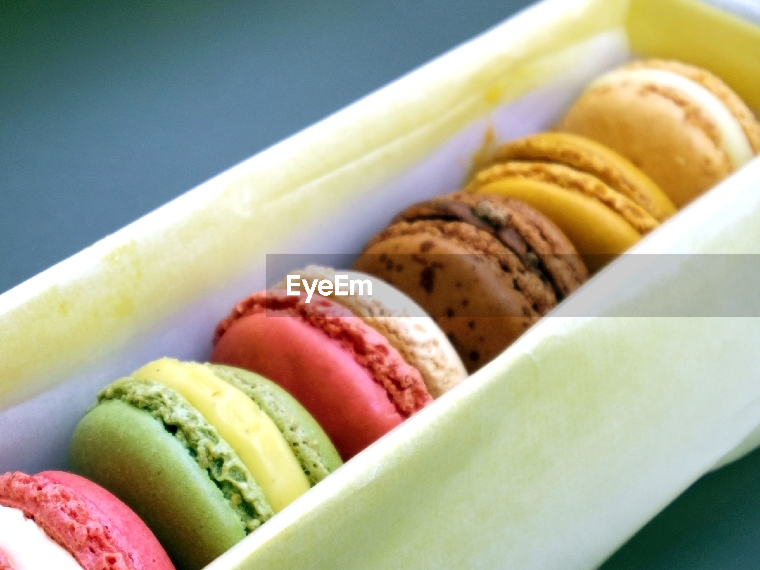 Close-up of multi colored macaron fresh sweet