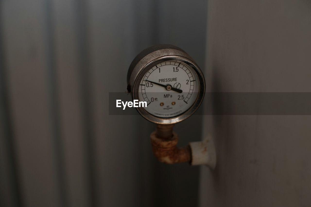 Close up view of pressure gauge