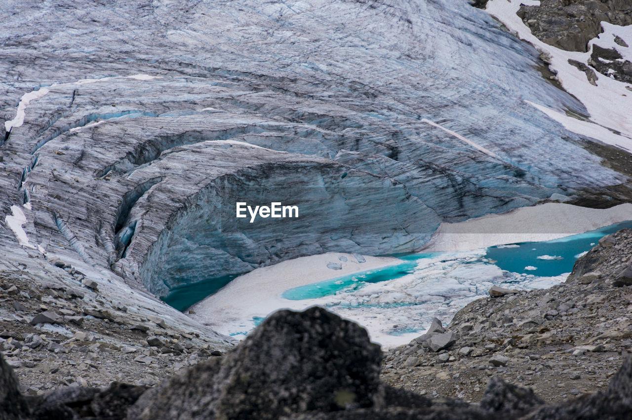 Scenic View Of Melting Glacier In Canada