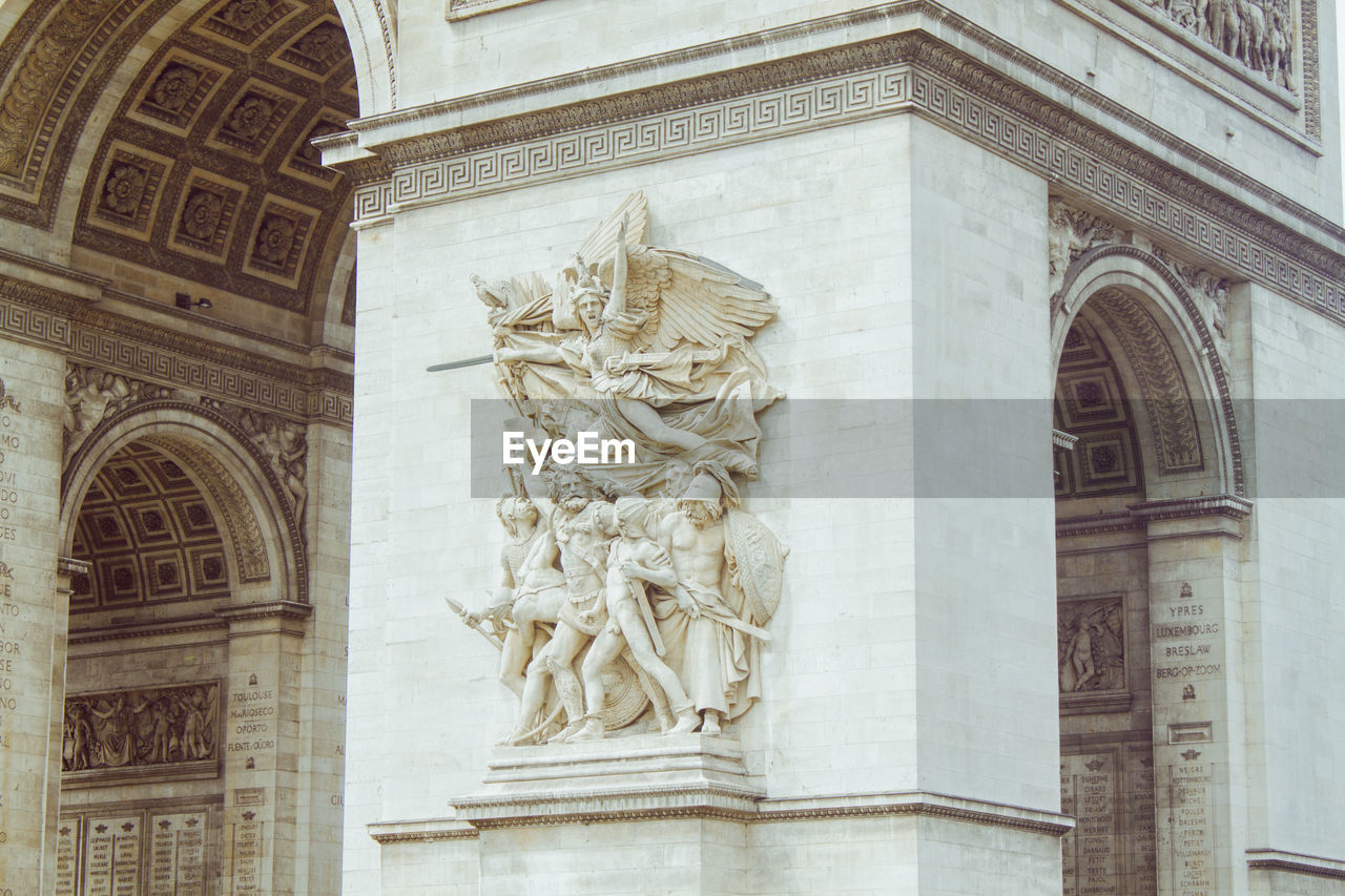 architecture, art and craft, built structure, sculpture, the past, history, craft, building exterior, representation, statue, low angle view, creativity, no people, human representation, arch, male likeness, carving - craft product, day, female likeness, travel destinations, architectural column, carving, ornate