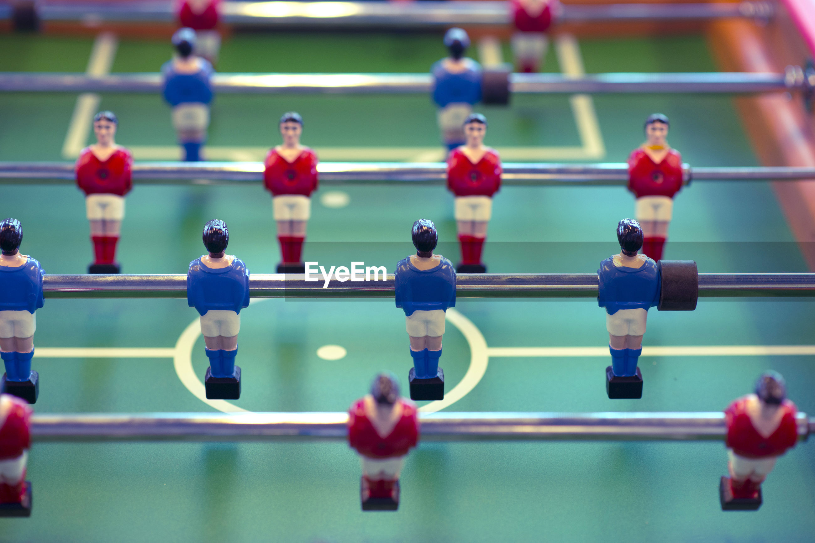Close-up of foosball table