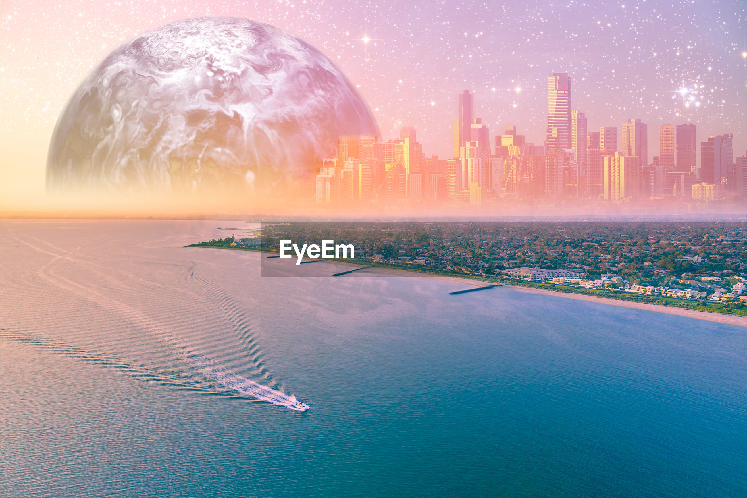 Digital composite image of sea against planet during sunset