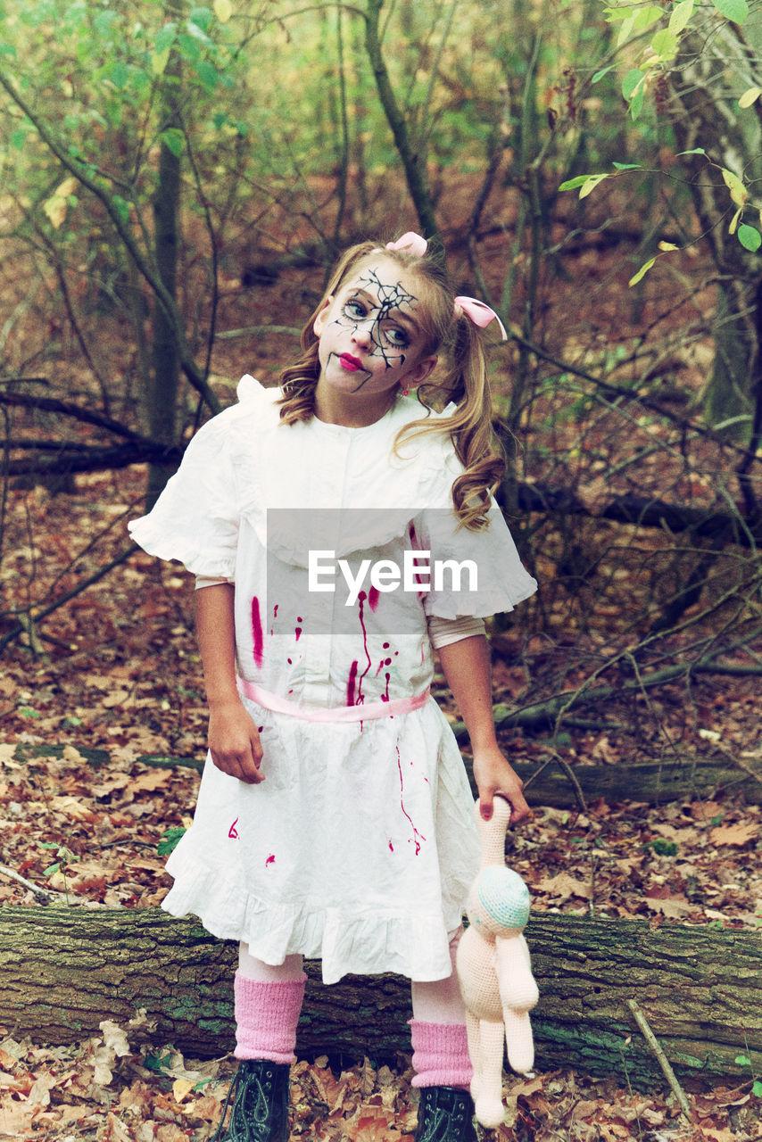 Girl In Spooky Costume During Halloween
