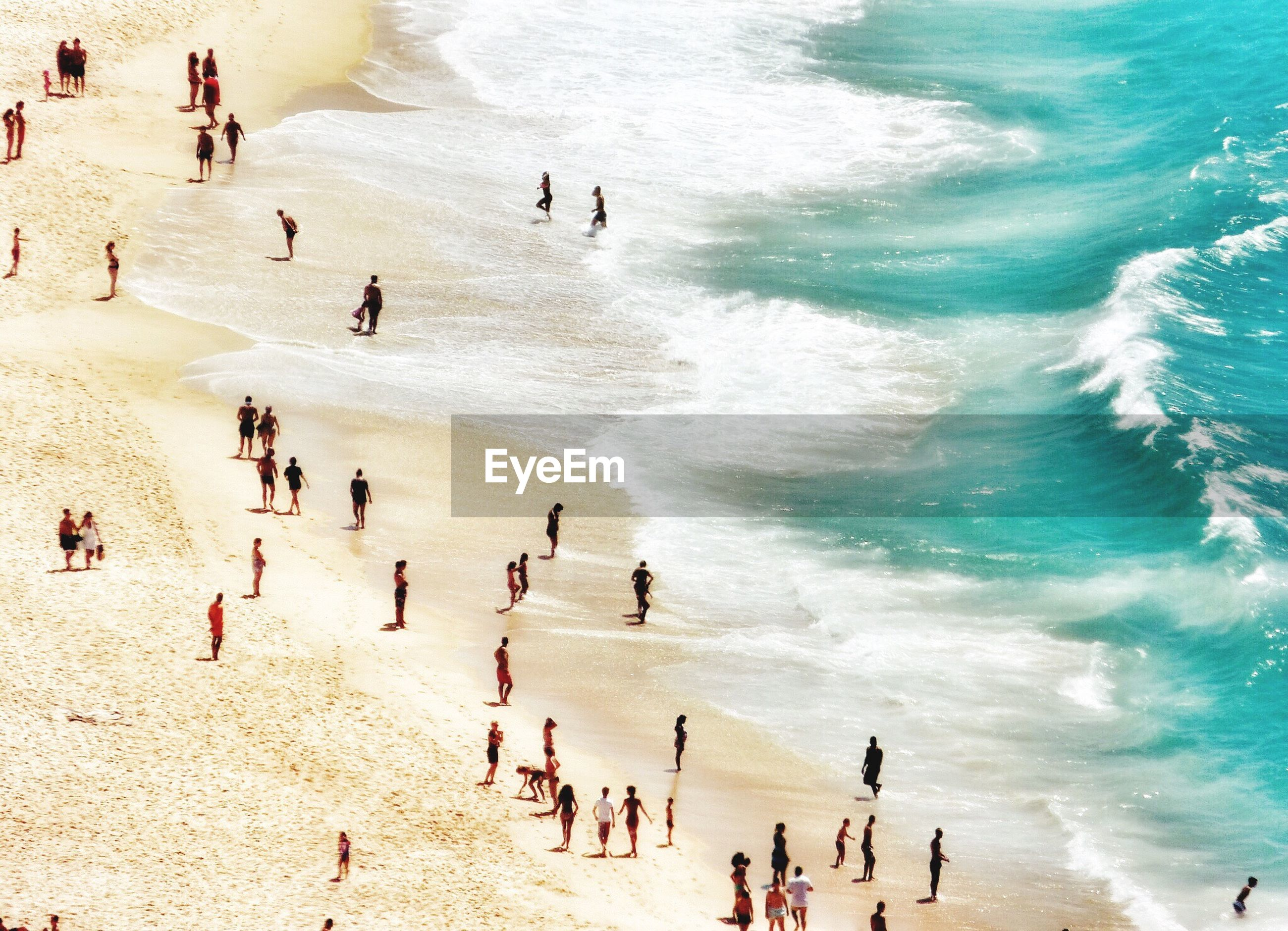 High angle view of people at beach during sunny day