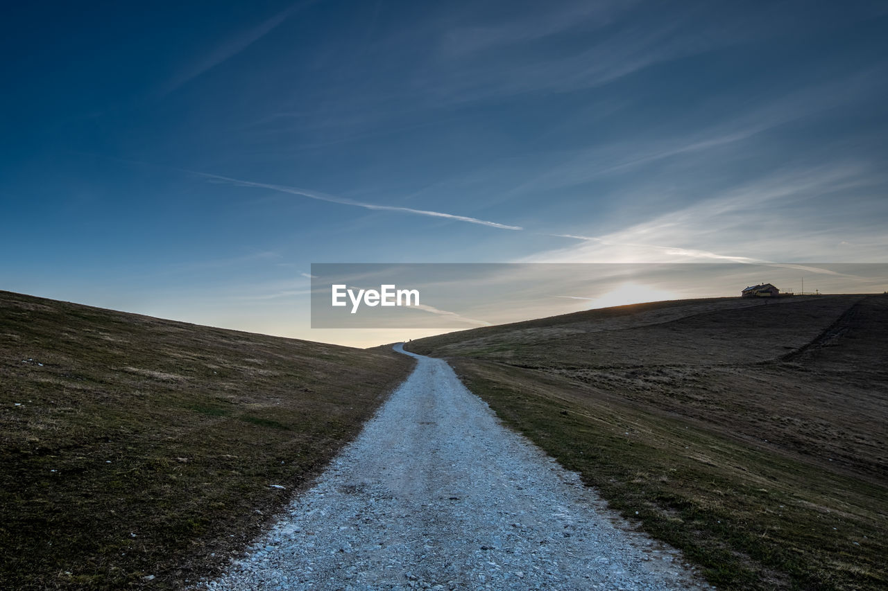 A lonely road on a hill in val formica - altopiano di asiago