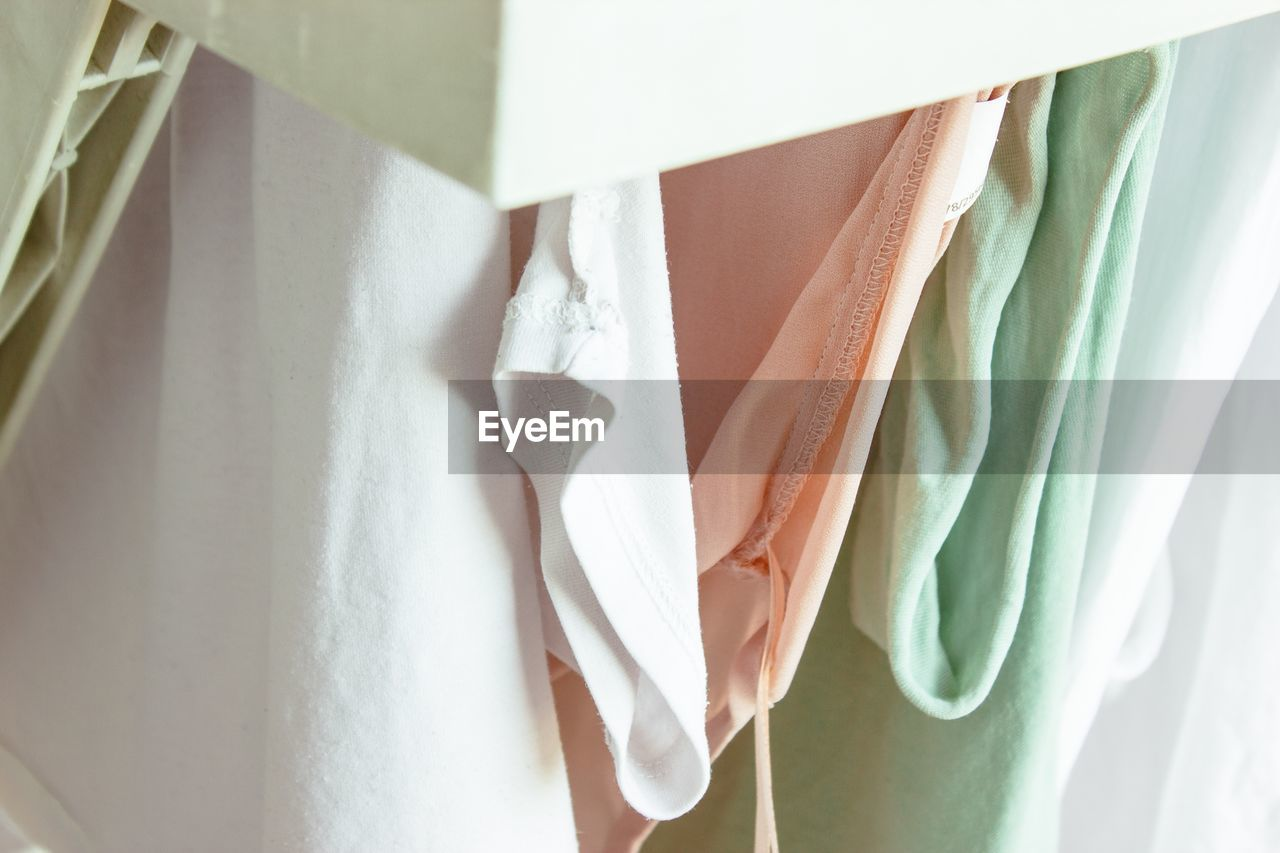 Close-up of clothes at home