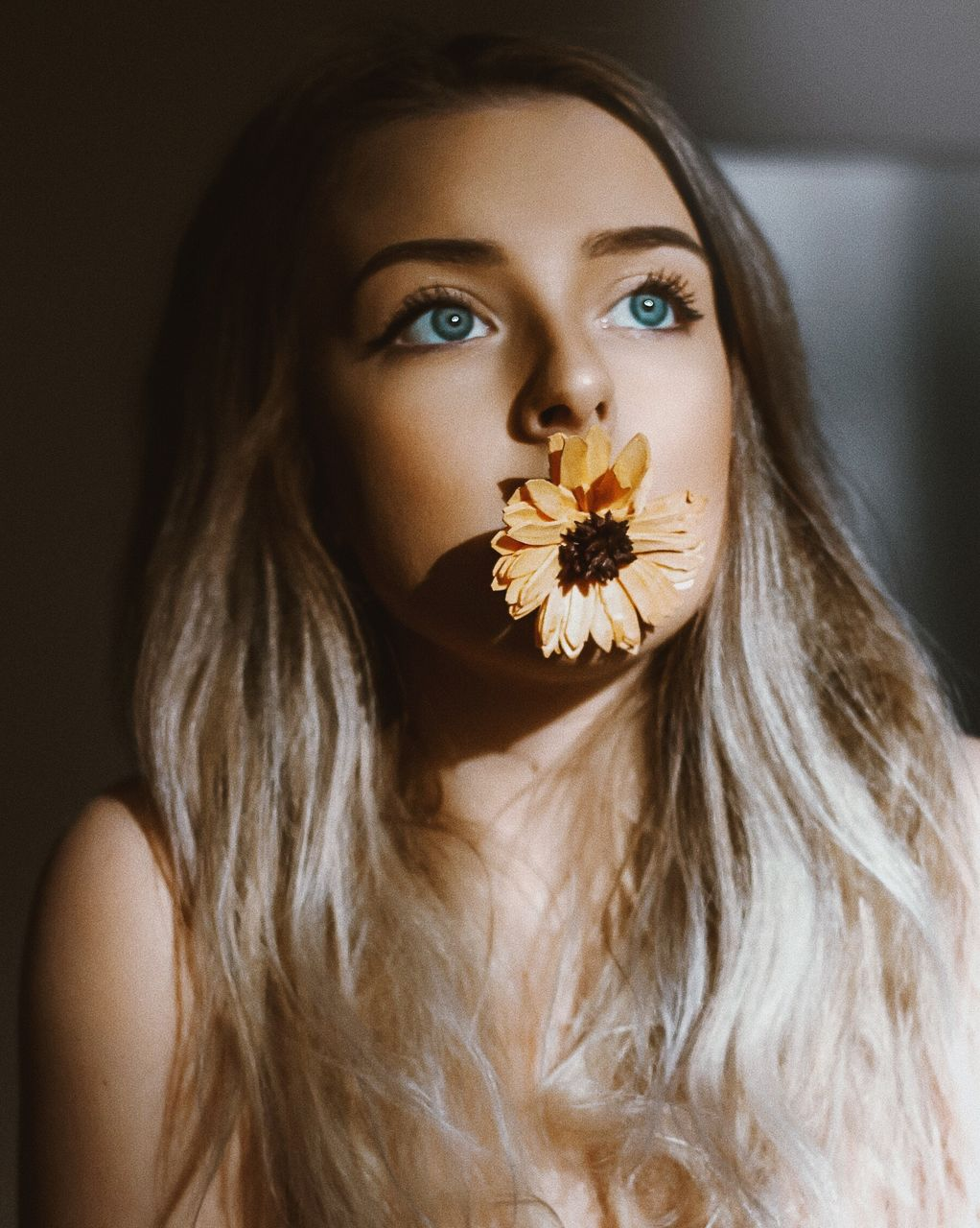 Close-Up Beautiful Young Woman With Flower In Mouth