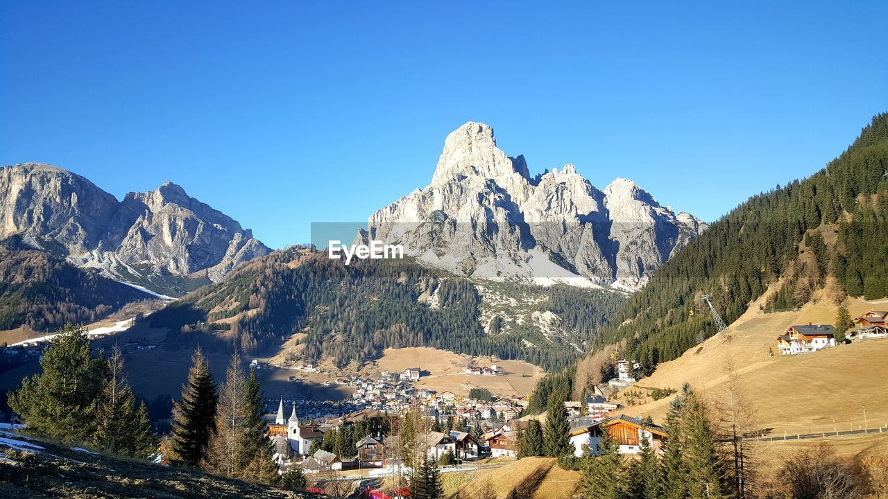 Scenic view of valley and mountains against clear blue sky