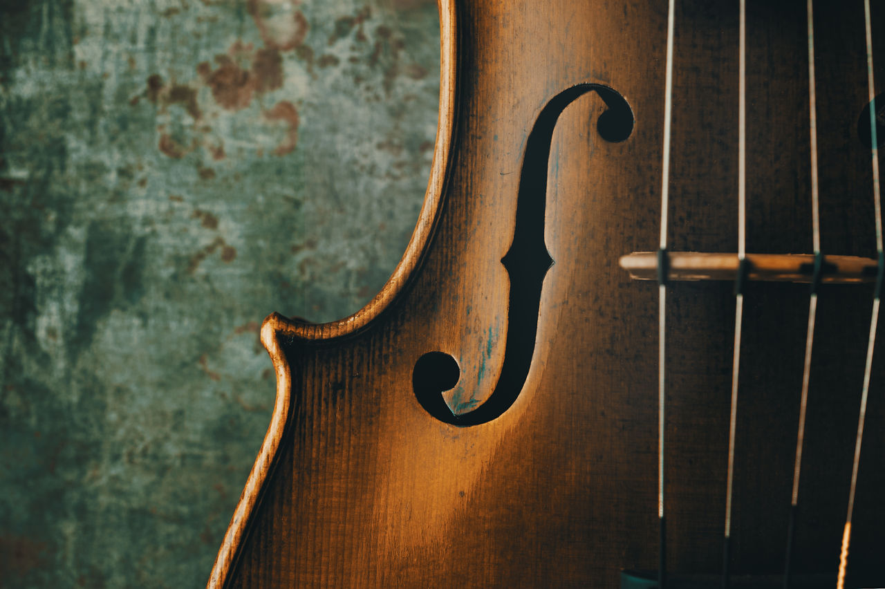 Close-up of an f-hole on a violin