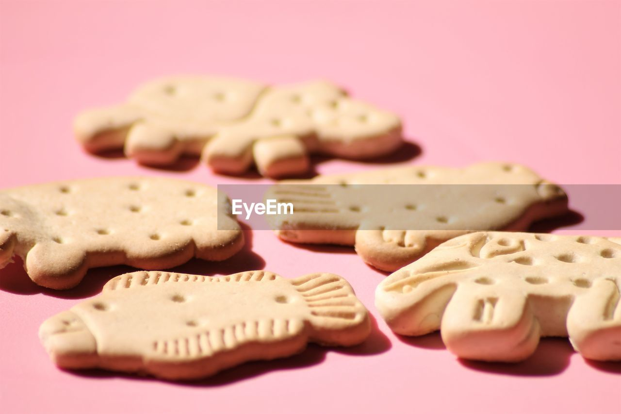 Close-up of cookies over pink background
