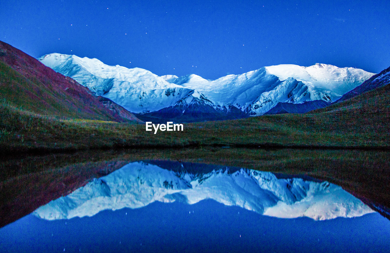 Reflection Of Snowcapped Mountain On Lake Against Sky