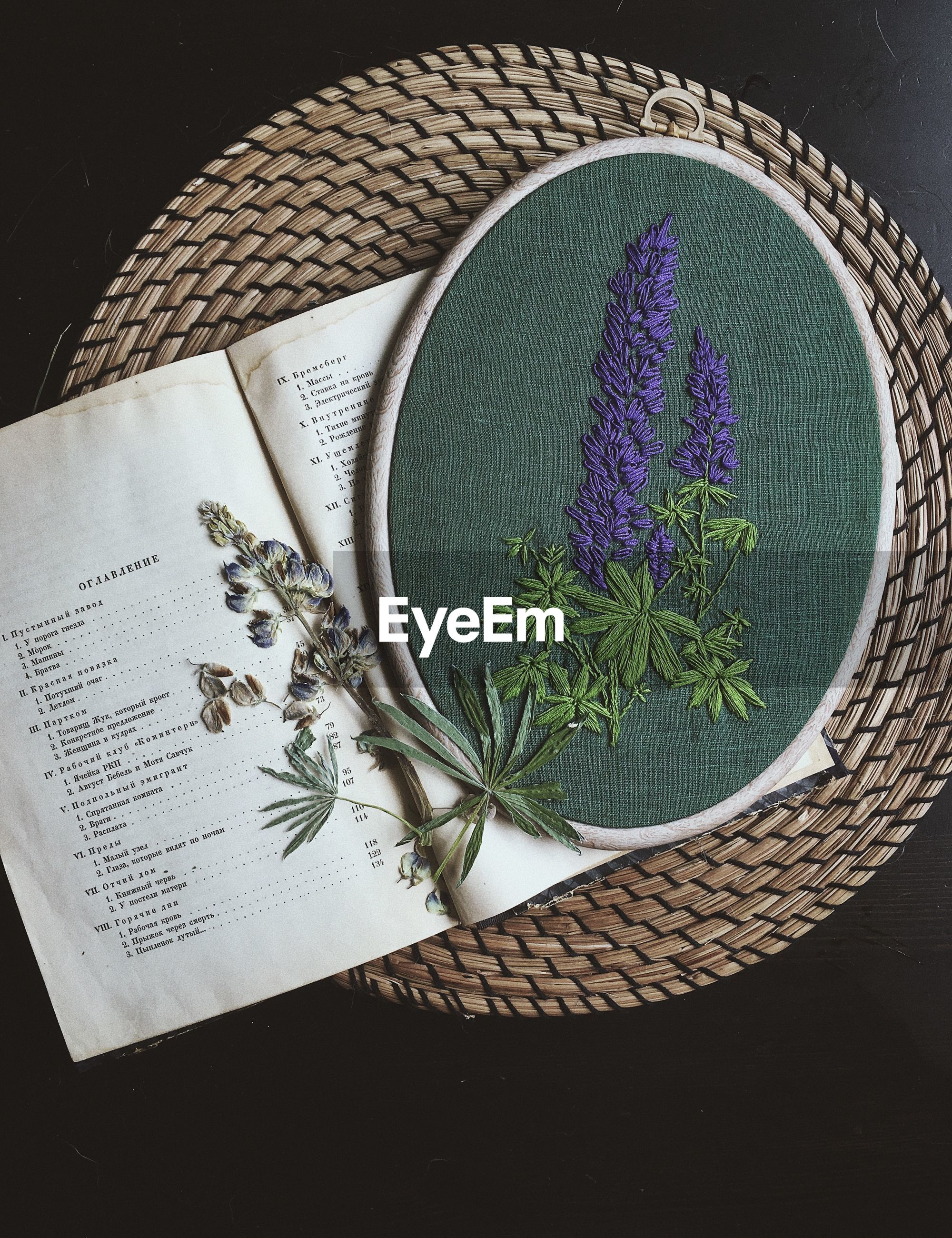 HIGH ANGLE VIEW OF PLANT IN WICKER BASKET ON BOOK