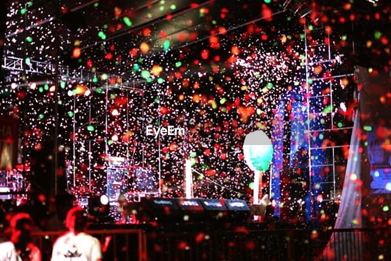 night, multi colored, celebration, illuminated, confetti, indoors, crowd, people