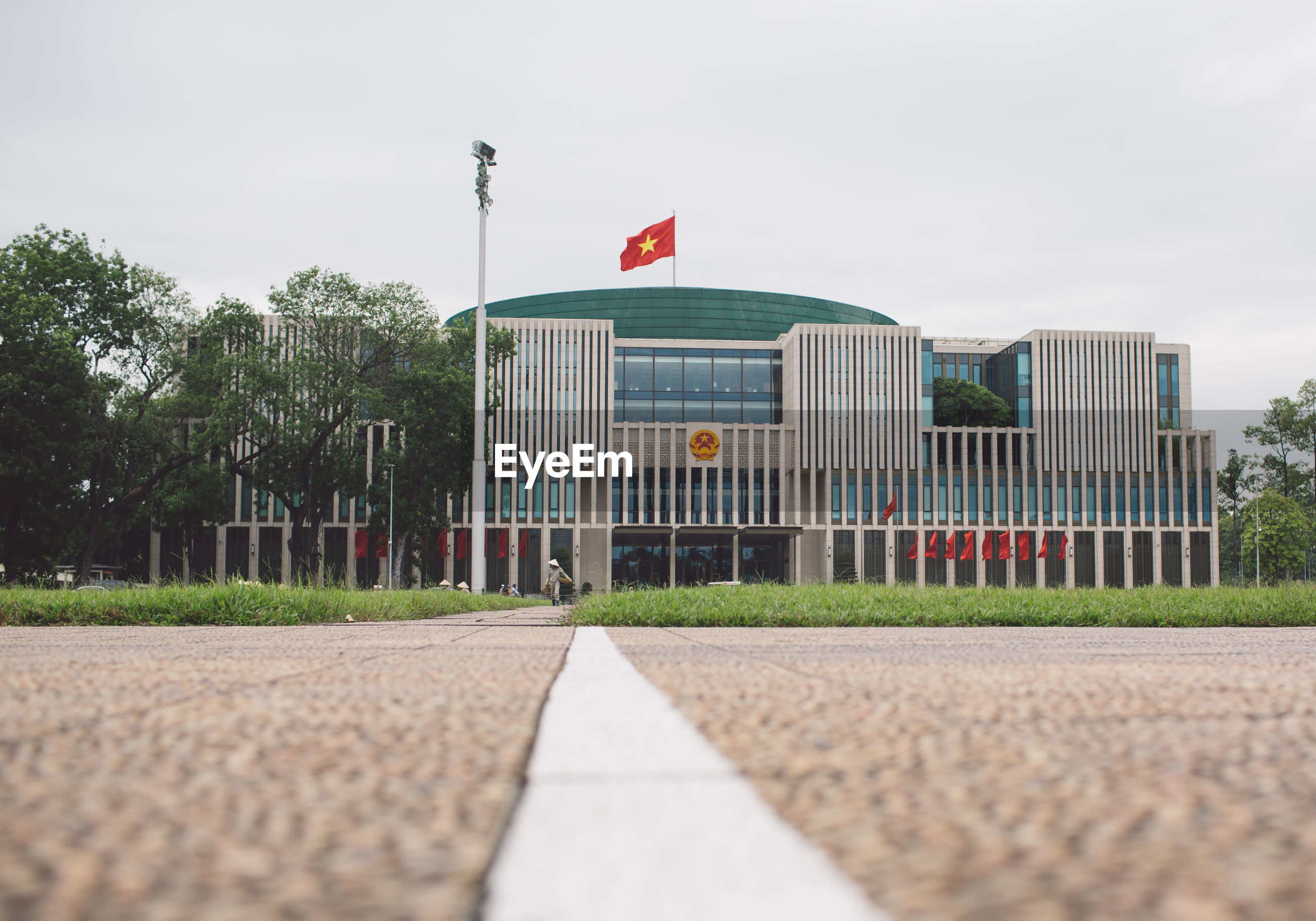 Vietnamese flag on building in city