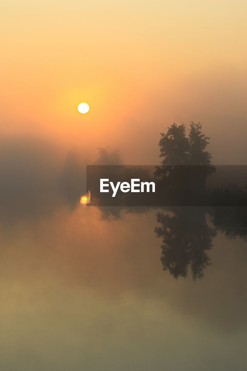 sky, sunset, scenics - nature, beauty in nature, sun, tranquility, tree, tranquil scene, orange color, plant, silhouette, idyllic, no people, water, nature, fog, reflection, non-urban scene, waterfront, outdoors, hazy