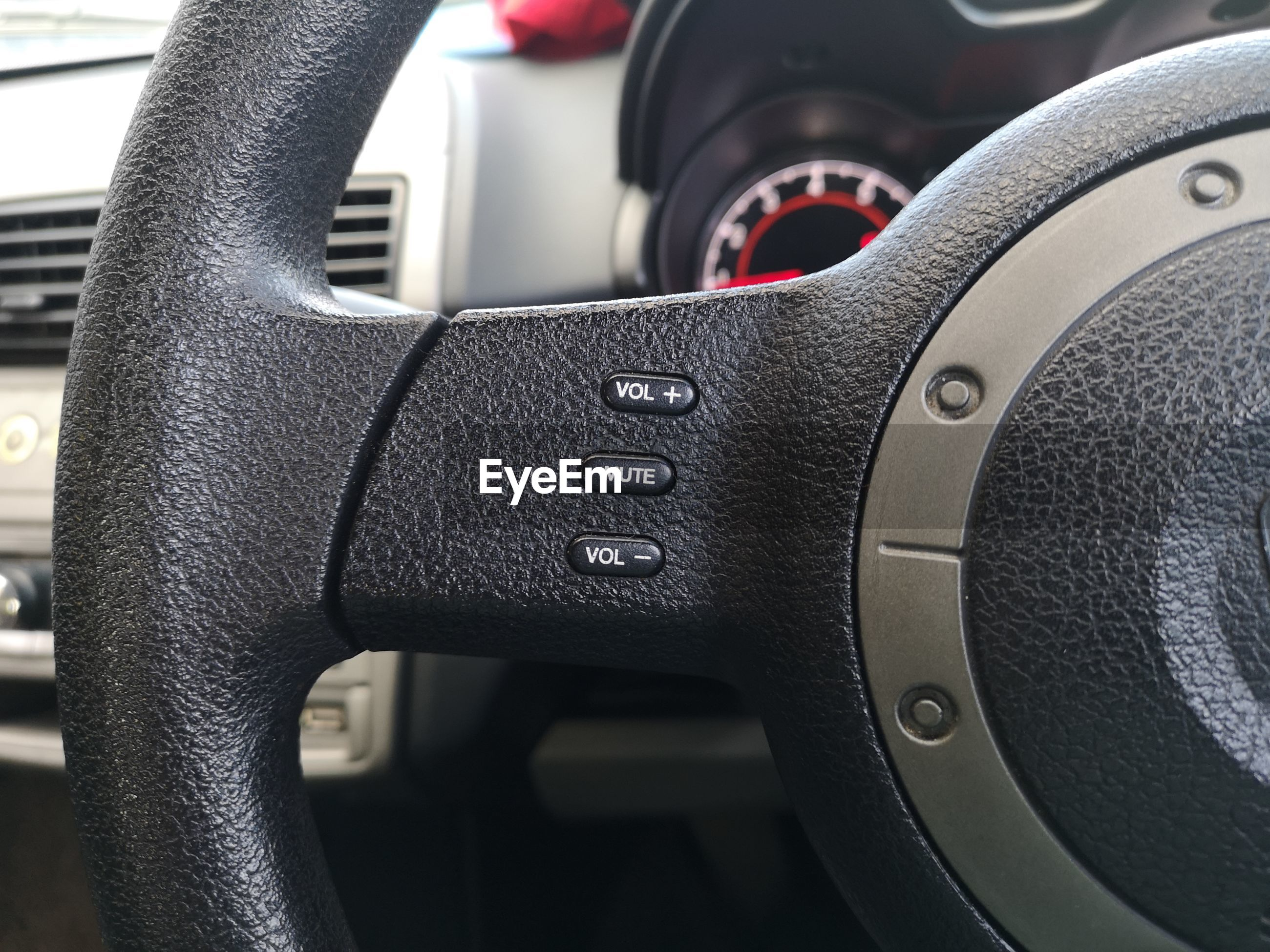 Close-up of car steering wheel