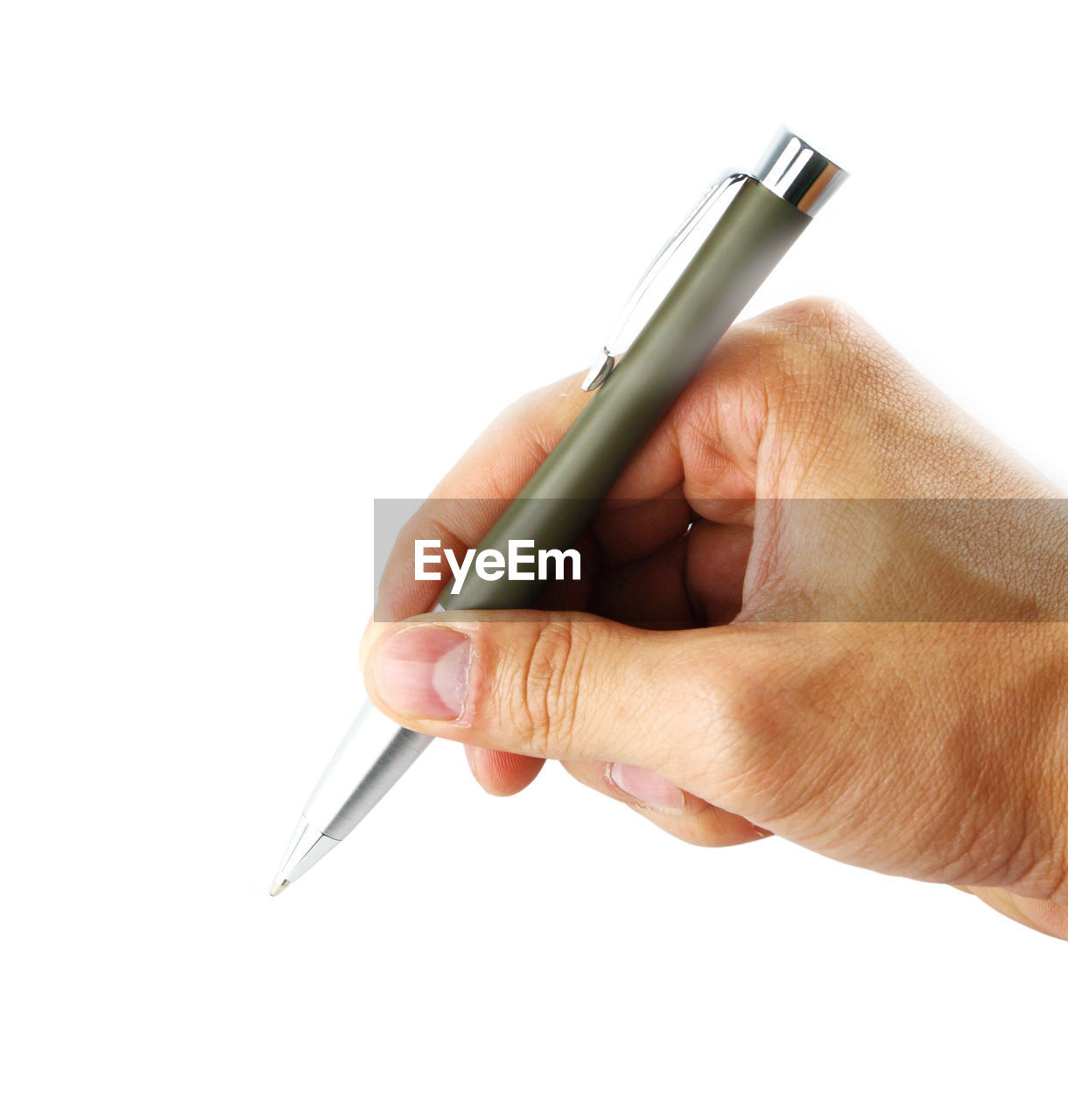 human hand, hand, human body part, holding, white background, studio shot, one person, pen, indoors, body part, copy space, writing, human finger, finger, close-up, writing instrument, unrecognizable person, lifestyles, real people, human limb, silver colored