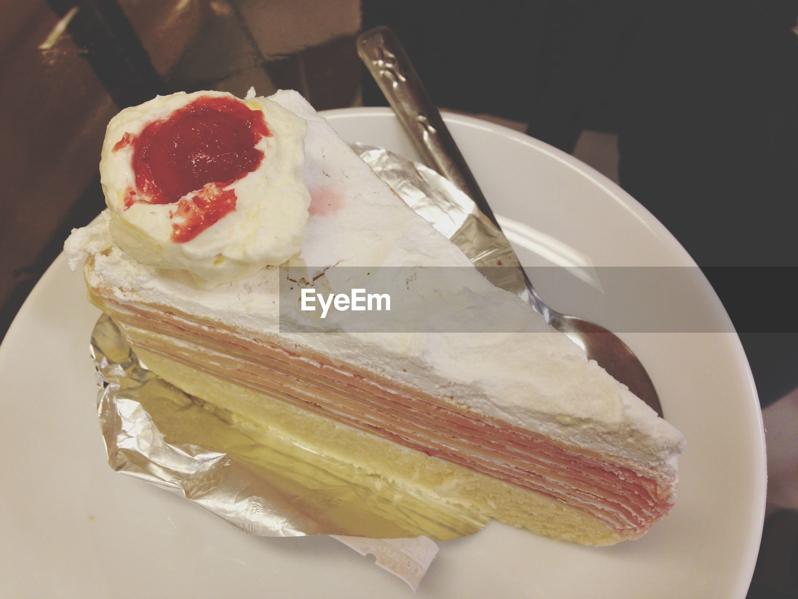 food and drink, food, freshness, ready-to-eat, sweet food, indulgence, dessert, unhealthy eating, indoors, plate, still life, close-up, cake, slice, temptation, ice cream, fruit, table, frozen food, strawberry