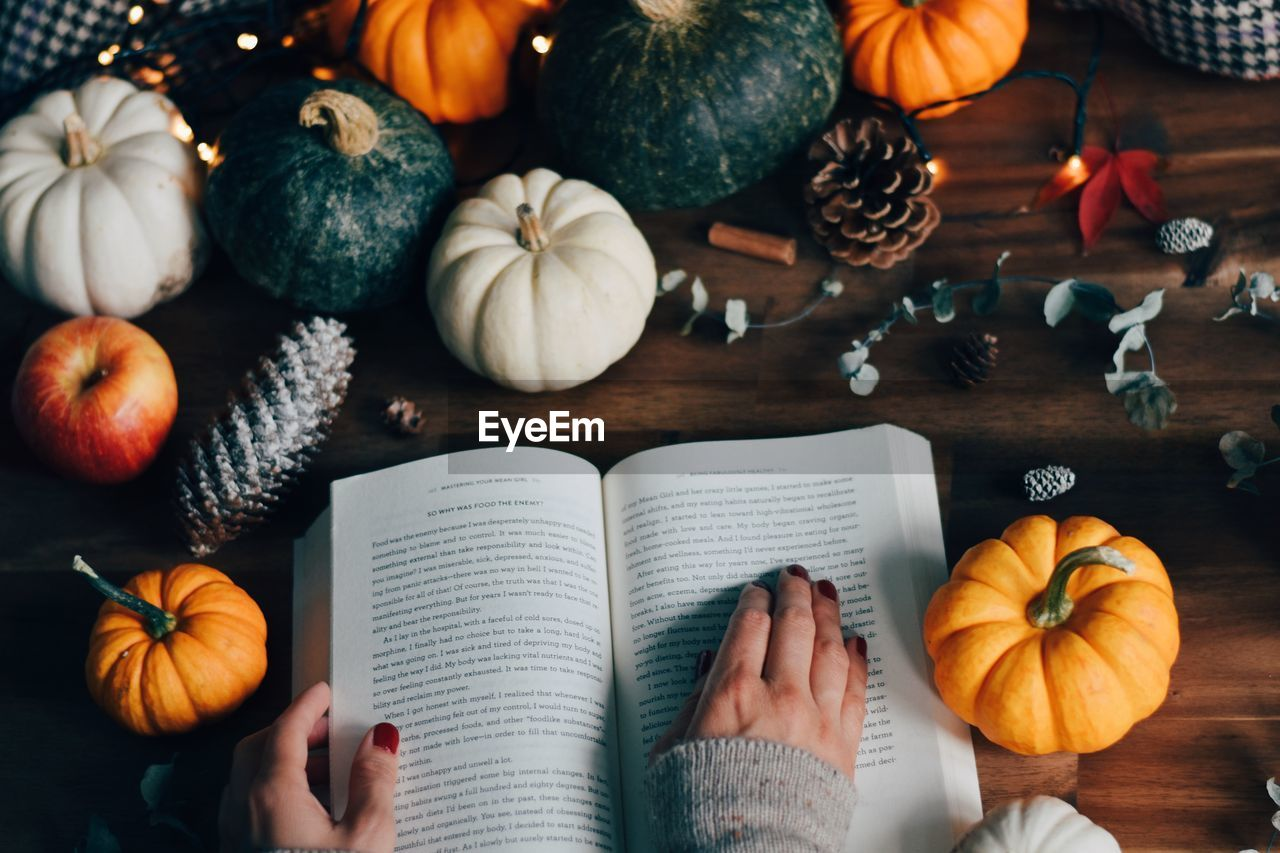 High angle view of pumpkins and book