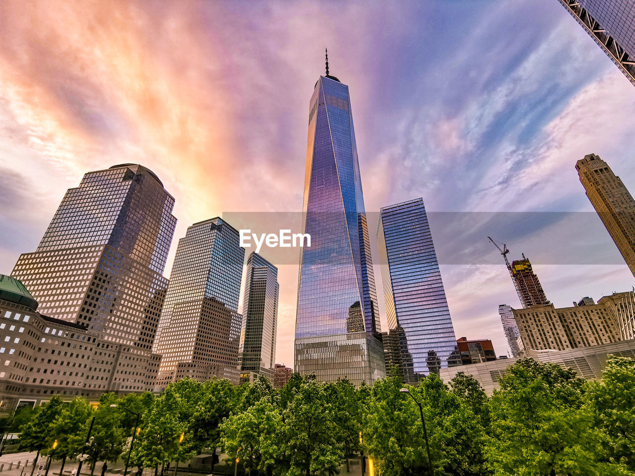 building exterior, architecture, sky, built structure, office building exterior, skyscraper, building, city, tall - high, cloud - sky, tower, modern, office, low angle view, nature, tree, plant, travel destinations, no people, cityscape, financial district, outdoors, spire