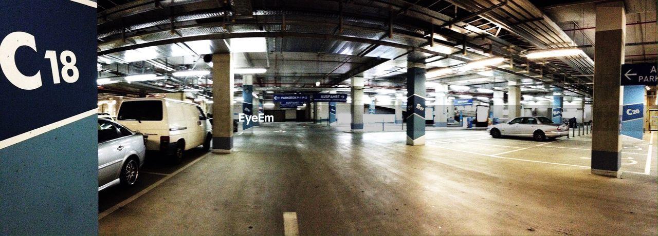 Cars in underground parking lot