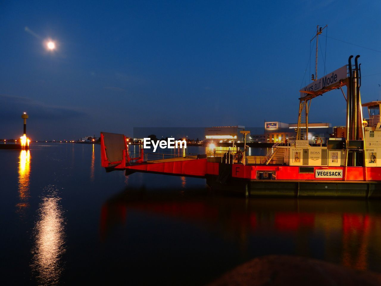 illuminated, night, sky, reflection, water, industry, waterfront, no people, sea, outdoors, nautical vessel, nature, moon, oil industry, shipyard, drilling rig