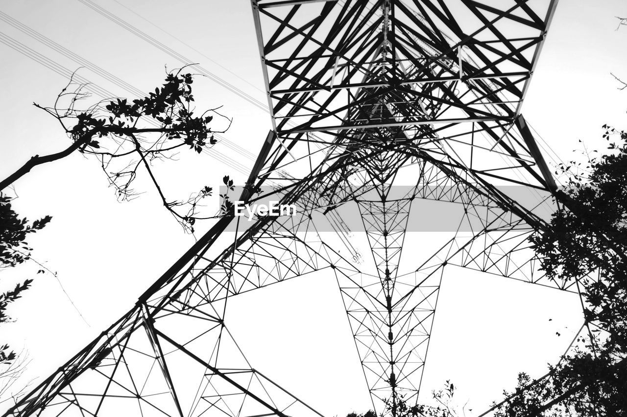 low angle view, sky, power supply, electricity pylon, technology, electricity, cable, tree, fuel and power generation, plant, power line, metal, nature, no people, built structure, connection, tall - high, day, architecture, complexity, outdoors, directly below