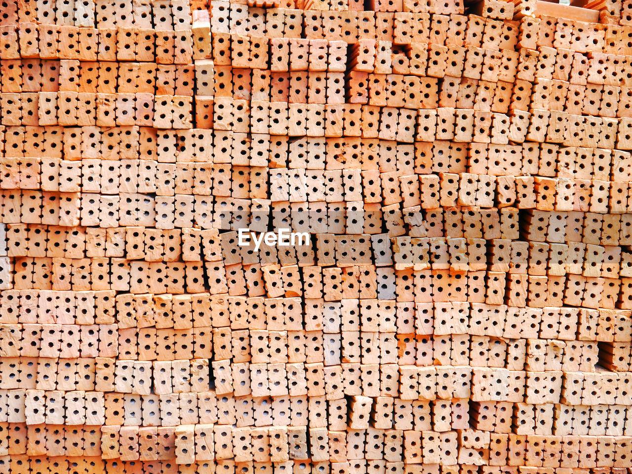 Full frame shot of brick stack