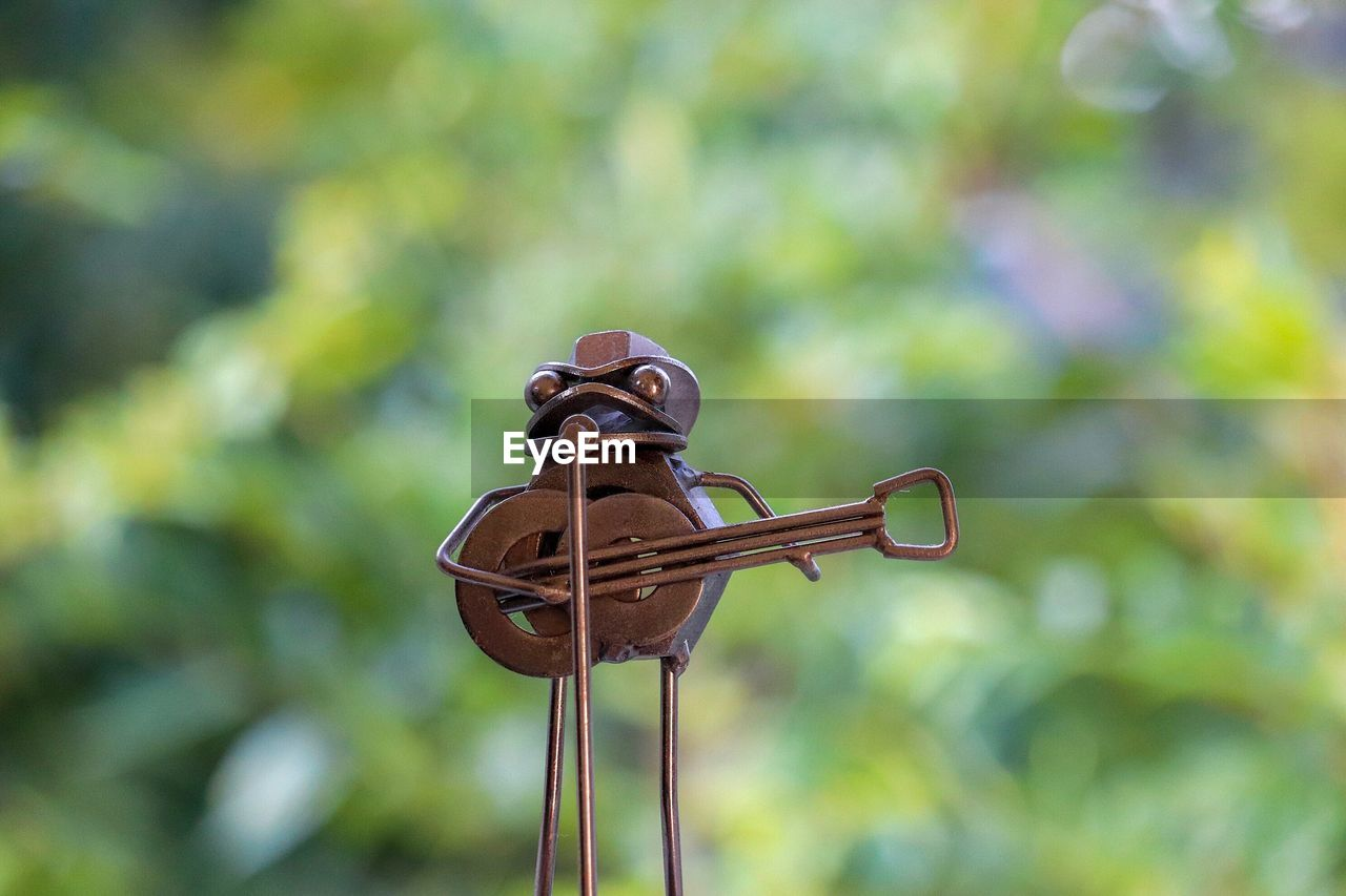 focus on foreground, no people, day, metal, close-up, nature, plant, outdoors, art and craft, representation, animal representation, creativity, rusty, low angle view, sculpture, sunlight, craft, animal wildlife, animal, green color