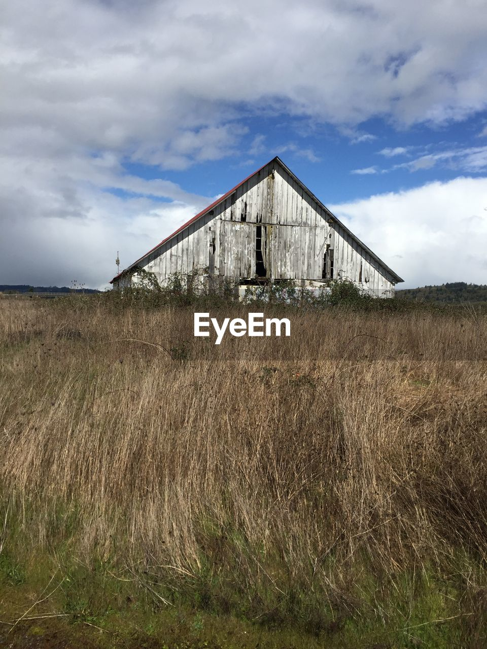 cloud - sky, sky, built structure, architecture, building exterior, land, grass, field, plant, nature, landscape, abandoned, day, agricultural building, no people, building, rural scene, growth, environment, barn, outdoors, ruined