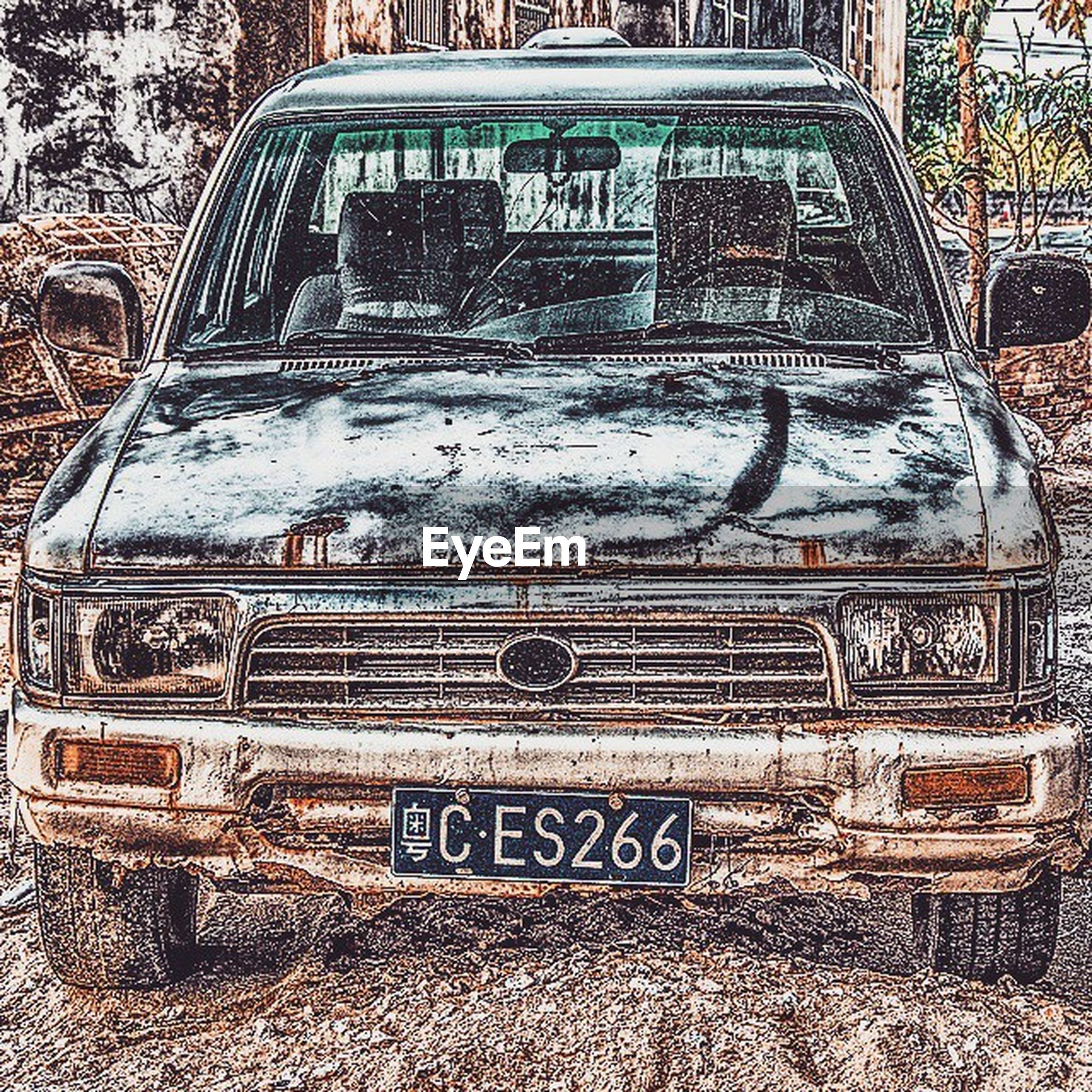 text, western script, communication, day, outdoors, no people, close-up, cold temperature, metal, winter, building exterior, abandoned, covering, capital letter, damaged, graffiti, car, non-western script, field, number
