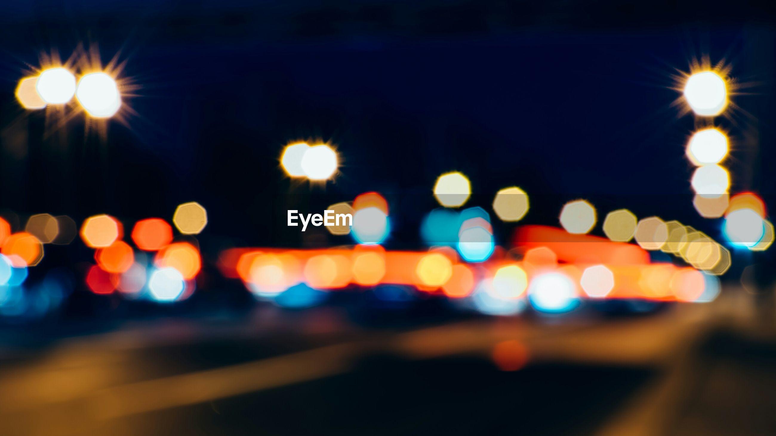 Defocused image of street lights