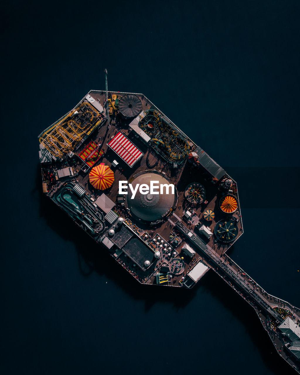 Aerial view of amusement park in sea
