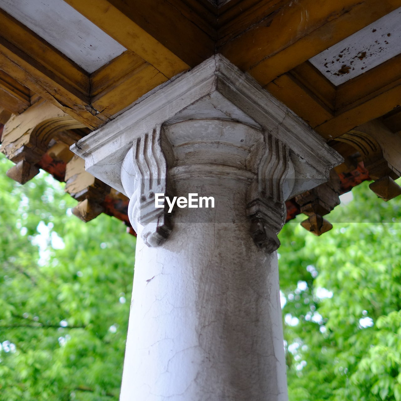 Low angle view of historical column