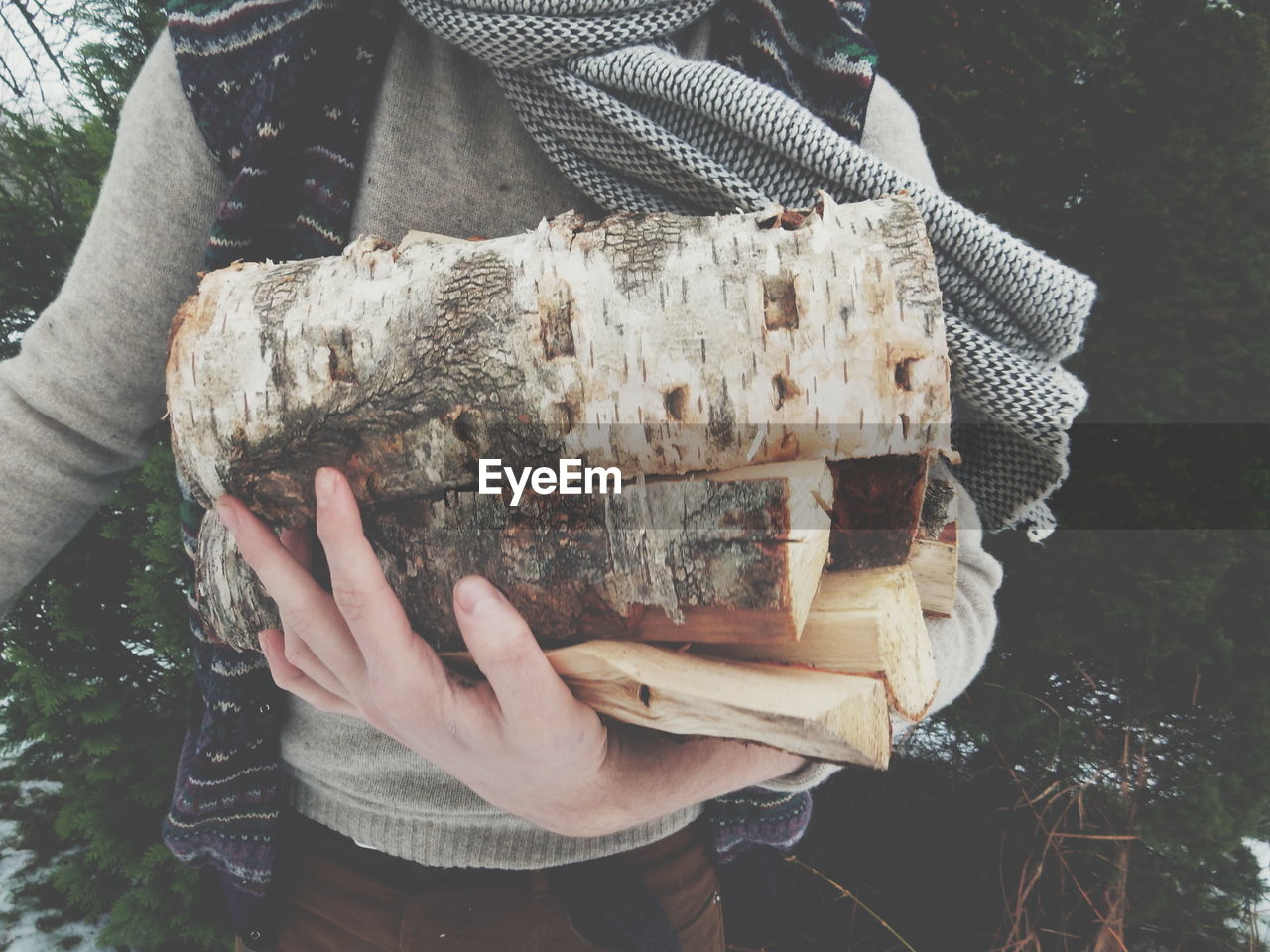 Midsection Of Woman Holding Firewood