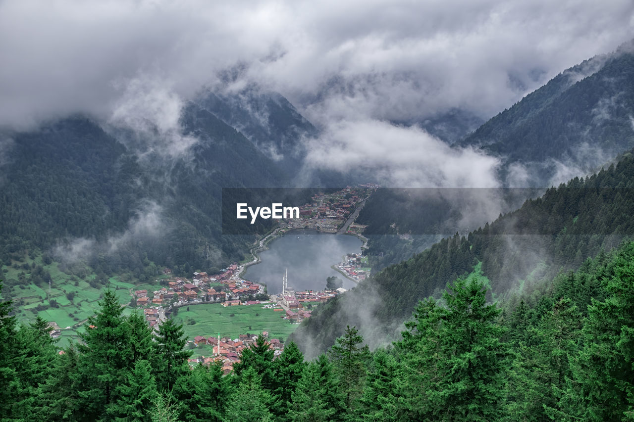 High angle view of trees and mountains against sky. landscape in uzungol, turkey