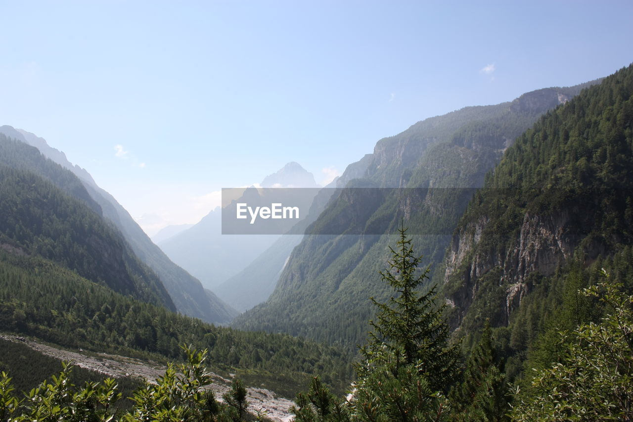 Scenic view of mountains and valley against sky