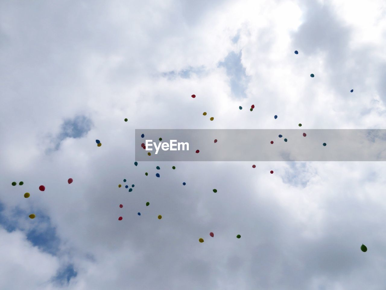 sky, cloud - sky, low angle view, mid-air, flying, nature, day, no people, balloon, celebration, freedom, outdoors, beauty in nature, multi colored, vertebrate, animal, event, tranquility, tranquil scene, motion