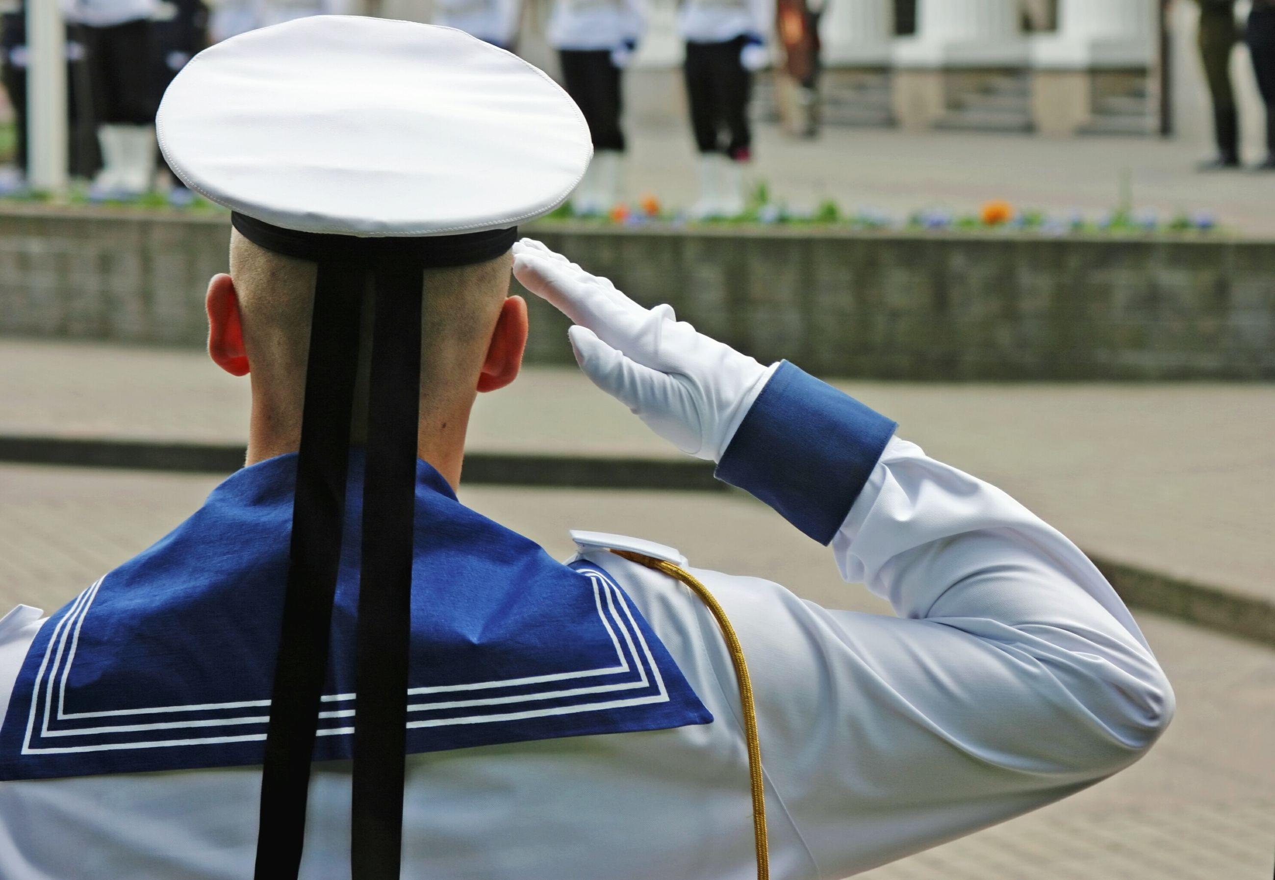 Marine soldier saluting