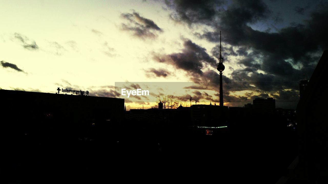 silhouette, sky, sunset, cloud - sky, architecture, built structure, building exterior, no people, outdoors, storm cloud, beauty in nature, nature, city, day