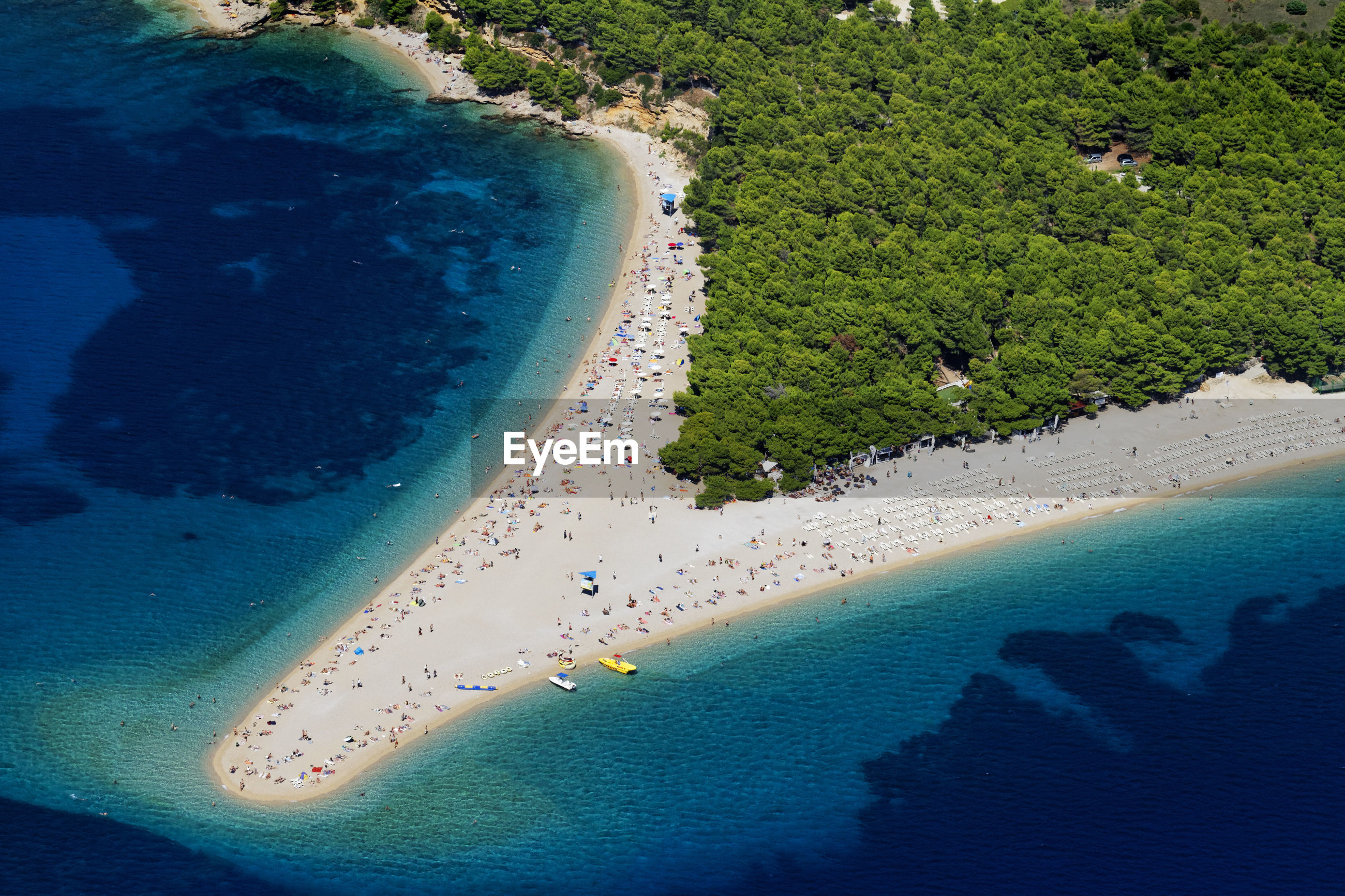 Aerial view of zlatni rat pebble beach on brac island