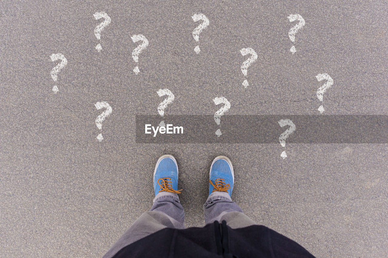 Questions Mark Confusion With Chalk On Street