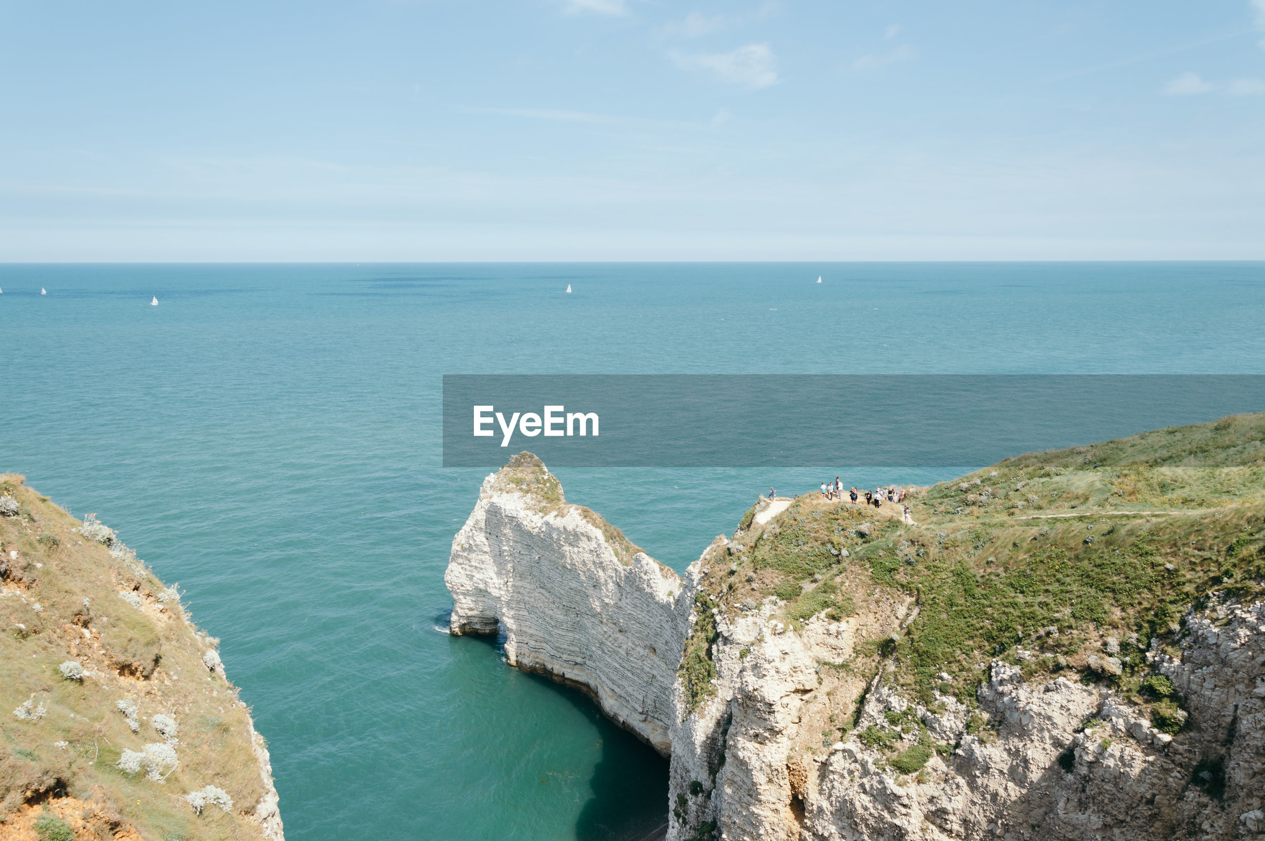 High angle view of cliff and sea at etretat