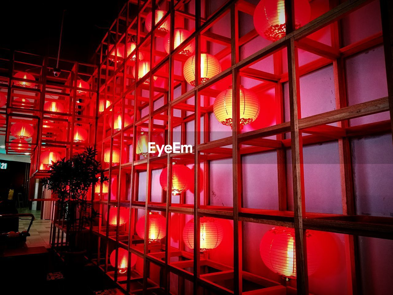 indoors, illuminated, architecture, red, built structure, window, night, no people