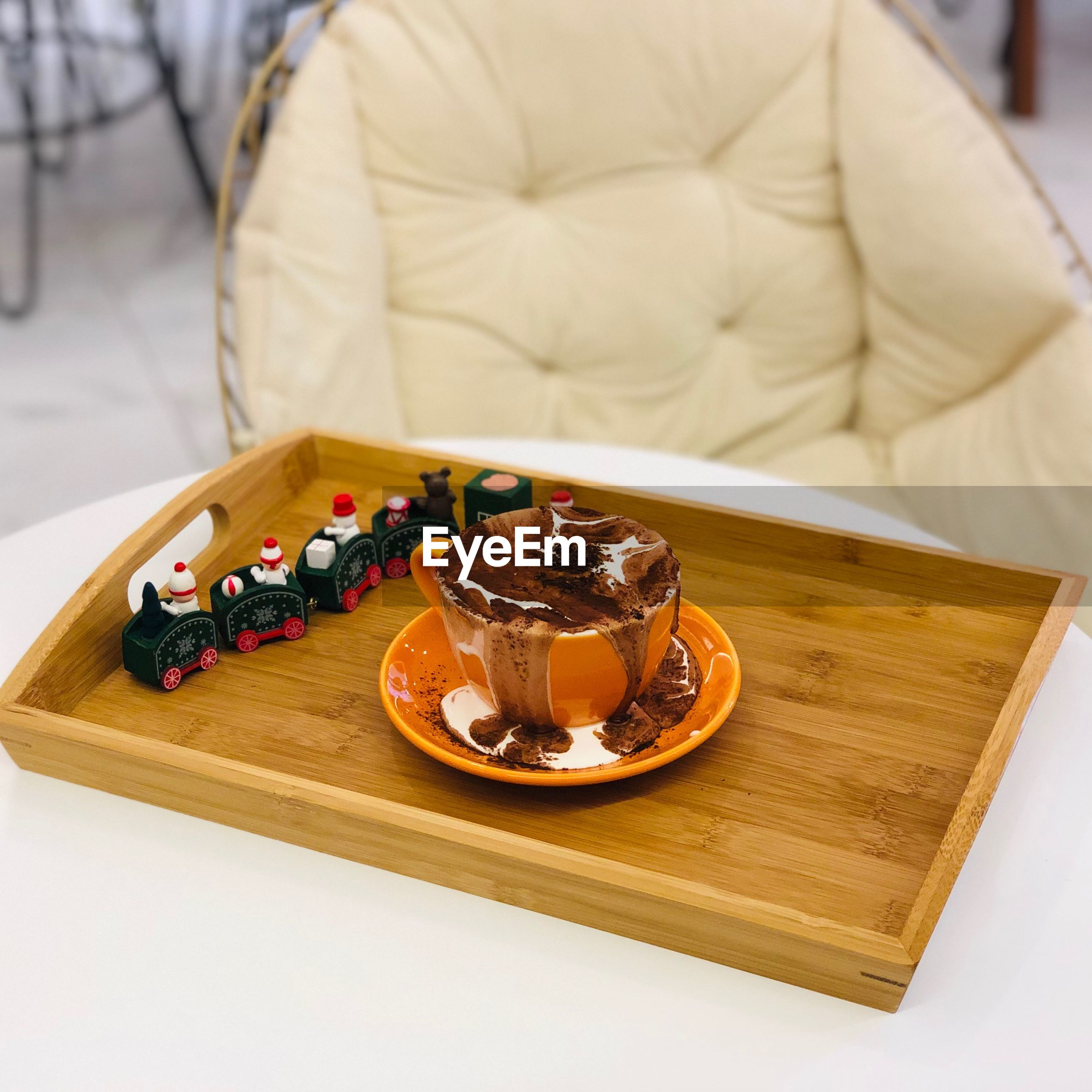 High angle view of drink served on table
