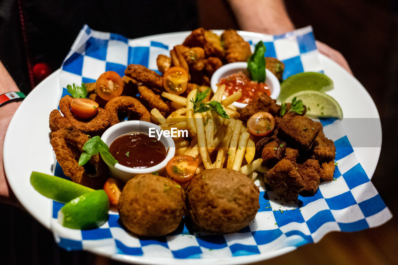 food and drink, ready-to-eat, food, plate, freshness, serving size, meat, close-up, indoors, table, still life, vegetable, focus on foreground, bowl, healthy eating, no people, appetizer, high angle view, indulgence, deep fried, snack, savory sauce, tray, nacho chip, fried chicken
