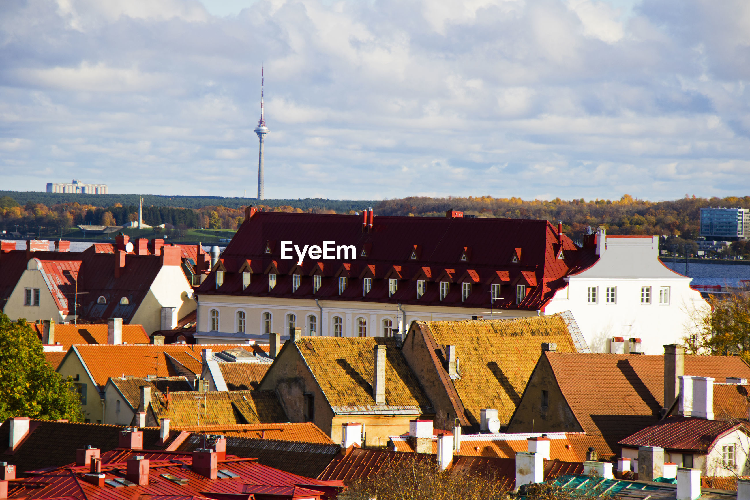 City view of building roofs, architecture and history landmarks in tallinn